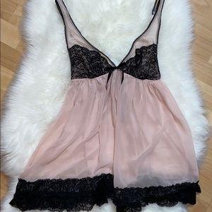 Victoria's Secret Pink & Black Lace Babydoll